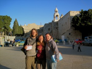 In front of the Church of the Nativity with our bangerang host, Alma!!!